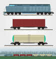 Set of freight train cargo cars Container tank vector image vector image