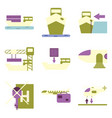 set of icons in flat design for cargo vector image vector image