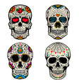 set of the sugar skulls isolated on white vector image vector image