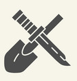 shovel and knife solid icon tools vector image vector image