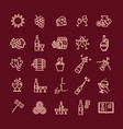simple set wine related line icon vector image vector image