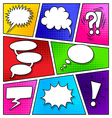 Speech bubbles on comic book page vector image vector image