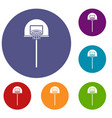 street basketball hoop icons set vector image vector image
