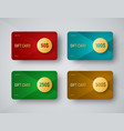 templates of gift cards with a gold circle for vector image vector image