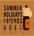typographic retro grunge beer poster vector image vector image