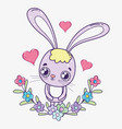 valentine day celebration and rabbit with hearts vector image vector image
