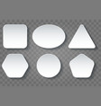 various shape blank white buttons set vector image vector image