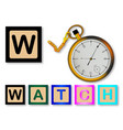 w is for watch vector image