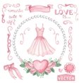 Watercolor bridal shower setPink dressroses vector image vector image