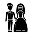 wedding couple - bride and groom icon vector image