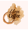 with I love coffee phrase and pour coffee vector image vector image