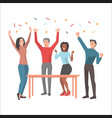 young people having fun and startuping confetti vector image vector image