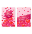 3d hearts cards valentine day love realistic vector image vector image