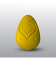 a golden egg with a heart cut out on it vector image vector image
