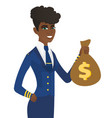 arican-american stewardess holding a money bag vector image vector image