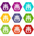 backpack adventure icons set 9 vector image vector image