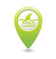 beach closed sharks symbol green map pointer vector image vector image