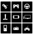 black video game icon set vector image vector image