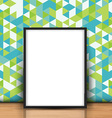 blank picture leaning against a retro wall 0704 vector image vector image