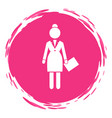 business woman white silhouette in a round pink vector image vector image