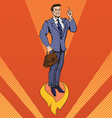 Businessman in Pop Art Style Star Up Concept vector image vector image