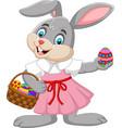 cartoon easter bunny girl with a basket egg vector image vector image