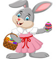 cartoon easter bunny girl with a basket of egg vector image vector image