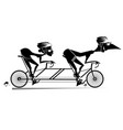 cartoon man and woman rides a tandem bike isolated vector image vector image