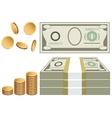 Cash coins bills vector image vector image