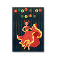 cinco de mayo - mexican dancer woman in red dress vector image vector image