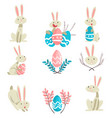collection cute bunnies and colorful eggs vector image vector image