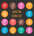 colorful cocktail thin line icons set vector image vector image