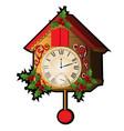 cuckoo clock decorated with leaves and berries vector image vector image