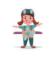 cute happy little boy in pilot costume playing vector image vector image