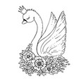 doodle cartoon swan with flowers and crown vector image vector image