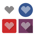 dotted icon heart in four variants with short vector image