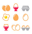 eggs icons fried egg egg box - breakfast icons vector image
