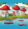 enchanted mushroom house in nature vector image vector image
