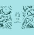 fast food vintage hand drawn graphic design vector image vector image