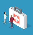 first aid kit suitcase with medical equipment vector image