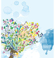 Floral background with watercolor elements vector image vector image