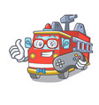 gamer fire truck mascot cartoon vector image