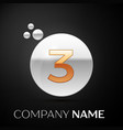 gold number three logo silver dots splash bubble vector image