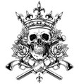 graphic skull with crossed bones and revolvers vector image vector image