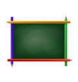 green chalkboard with frame pencils vector image vector image