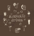 greeting card alcohol drinks on a brown background vector image vector image