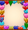 greeting card with colorful winged hearts vector image