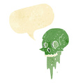 gross halloween skull cartoon with speech bubble vector image vector image