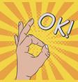 hand gesture - sign ok comic vector image vector image