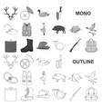 hunting and trophy monochrom icons in set vector image